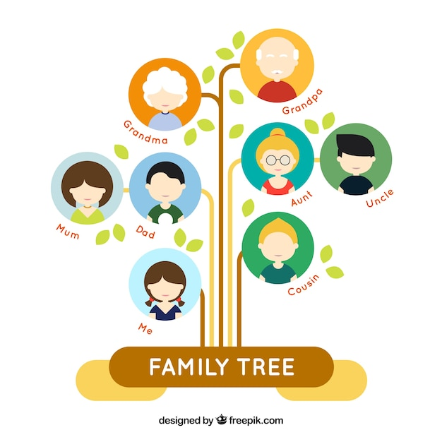 Fantastic flat family tree with colored circles Vector Free Download