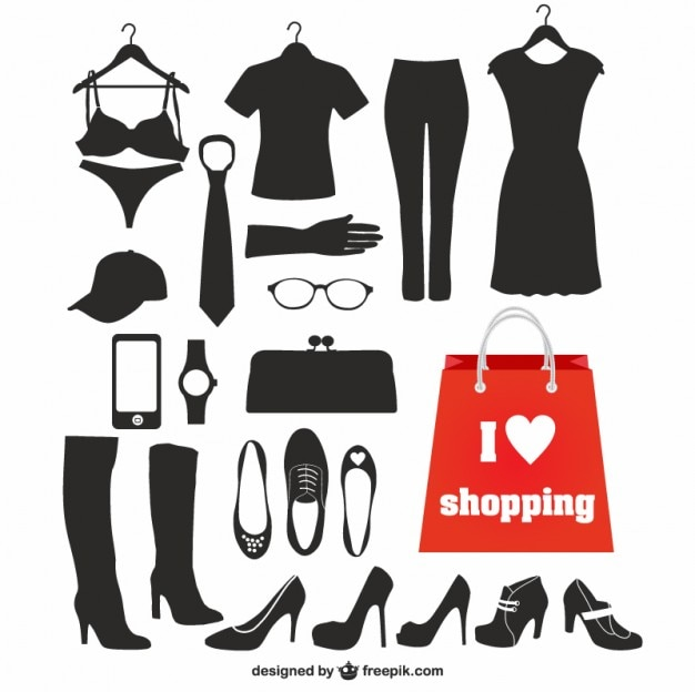 Fashion elements black silhouettes Vector Free Download