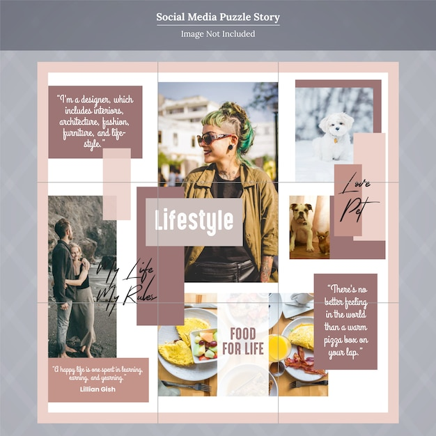 Fashion social media puzzle story template Vector Premium Download