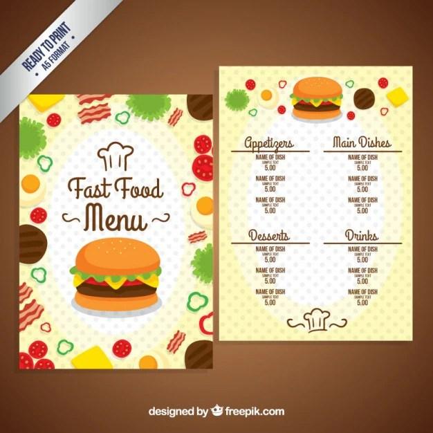 Fast Food Menu Template Vector Free Download - free food menu template