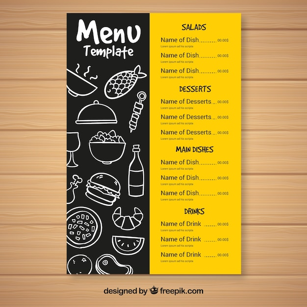 Fast food menu template Vector Free Download - food menu template