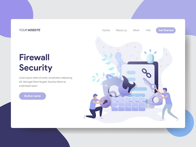 Firewall security illustration for website page Vector Premium
