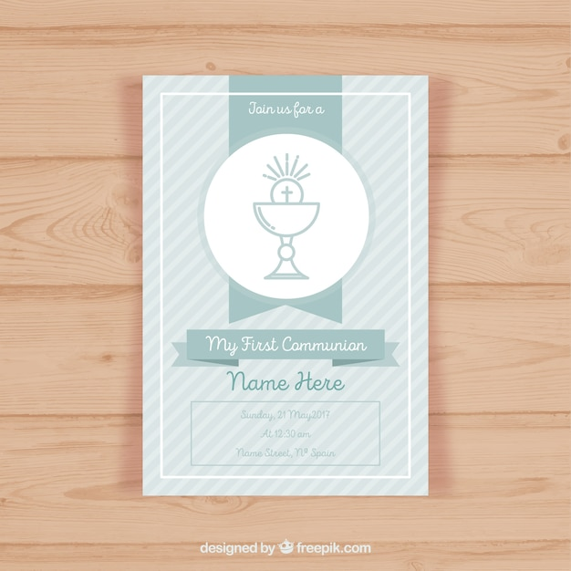 First communion invitation template Vector Free Download