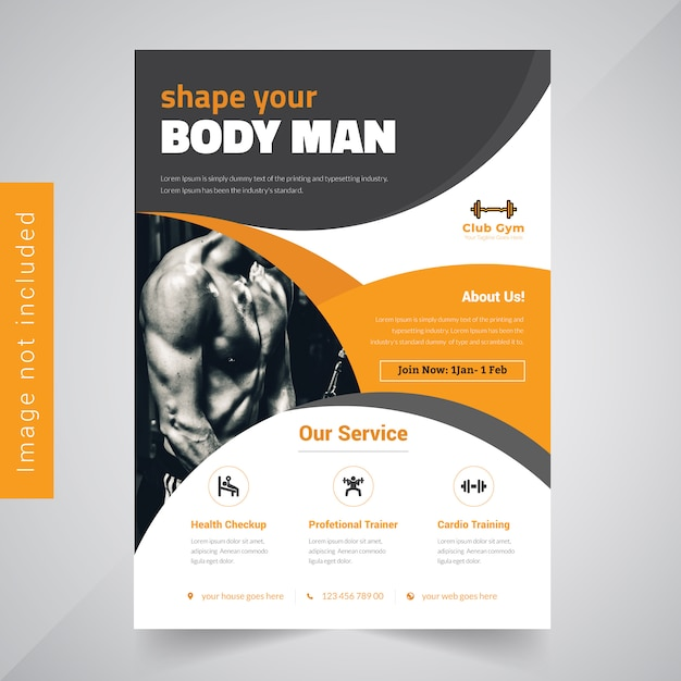 Fitness Brochure Design for Gymnasium Vector Premium Download