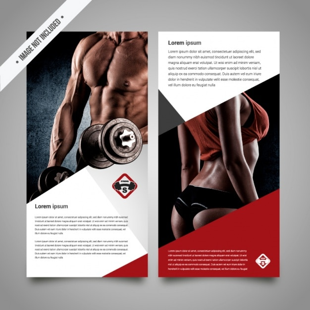 Fitness brochure template Vector Free Download