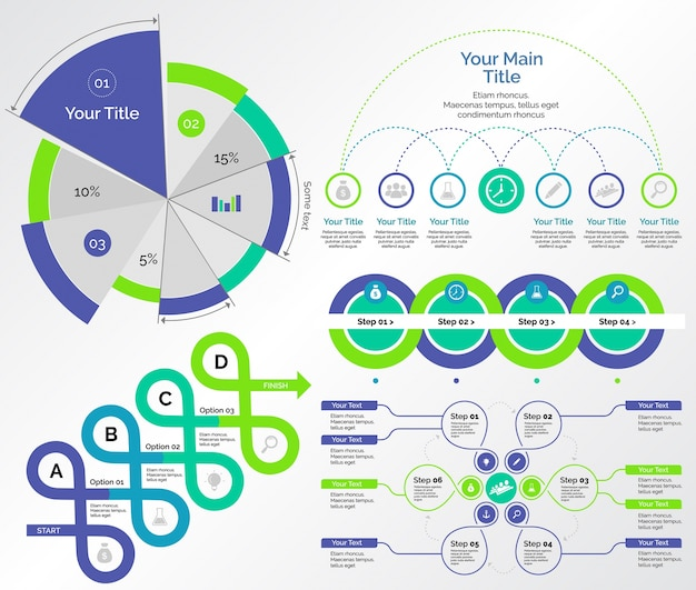 Five Research Charts Templates Set Vector Free Download