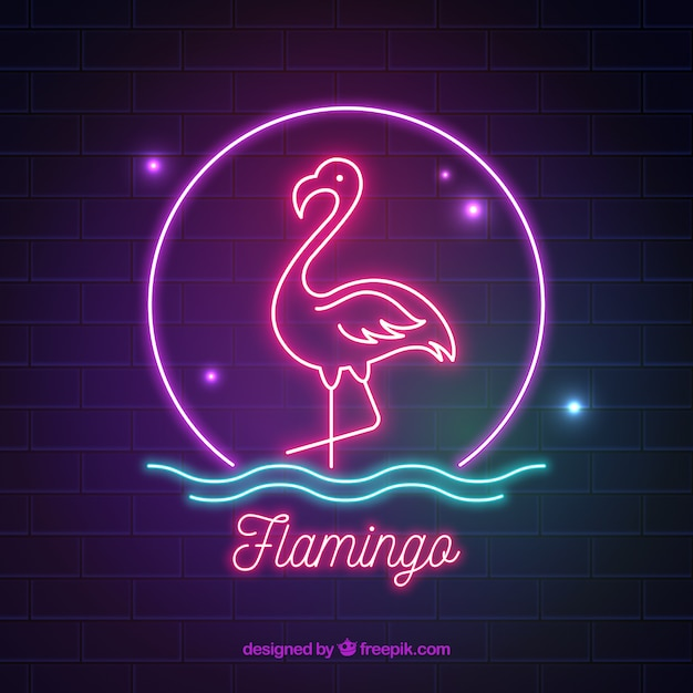 Neon Flamingo Flamingo Neon With Colors Light Vector | Free Download