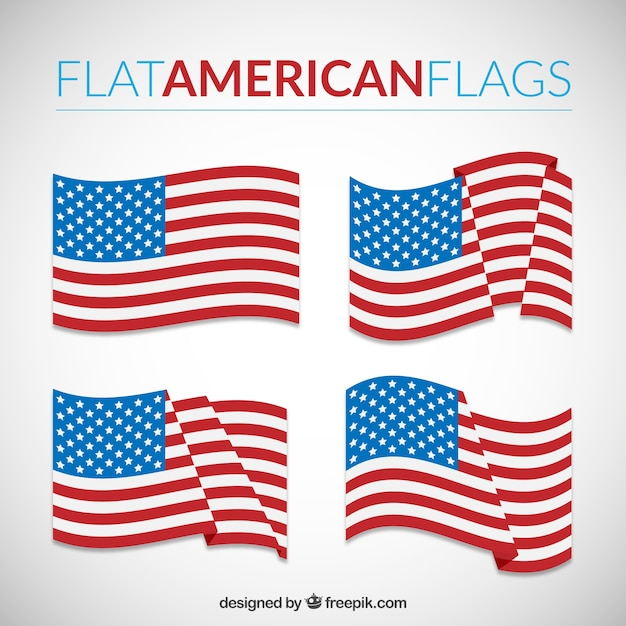 Flat american flags Vector Free Download
