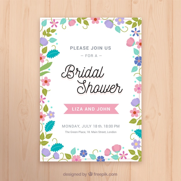 Flat bridal shower invitation template with colored flowers Vector - bridal shower invitation templates download