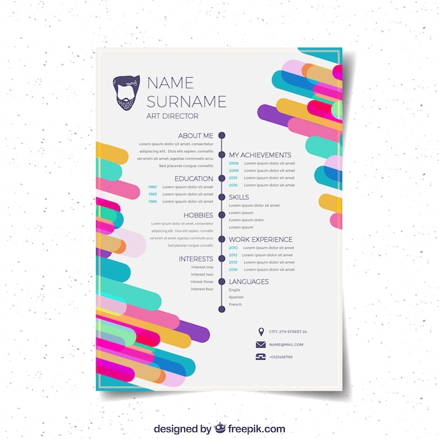 Flat curriculum vitae template Vector Free Download - curriculum vitea sample