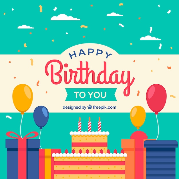 Flat design birthday party background Vector Free Download - birthday party design