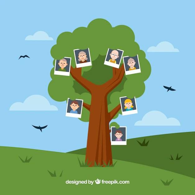 Download Vector - Flat family tree with decorative birds - Vectorpicker