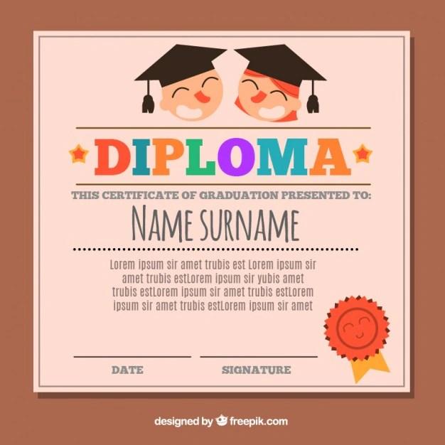 Flat graduation certificate for kids Vector Free Download
