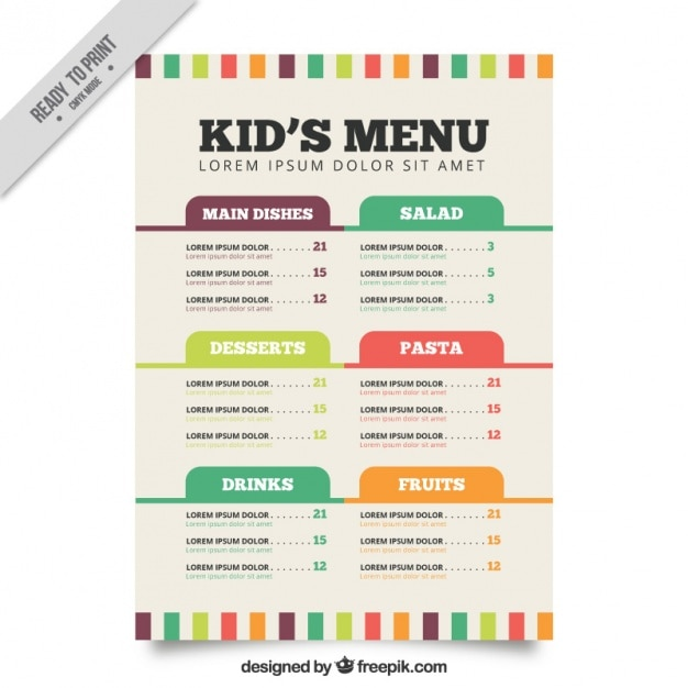 free kid menu template - Ozilalmanoof