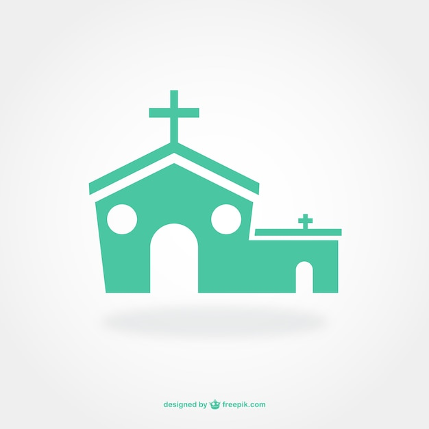 Flat pictogram design of church Vector Free Download