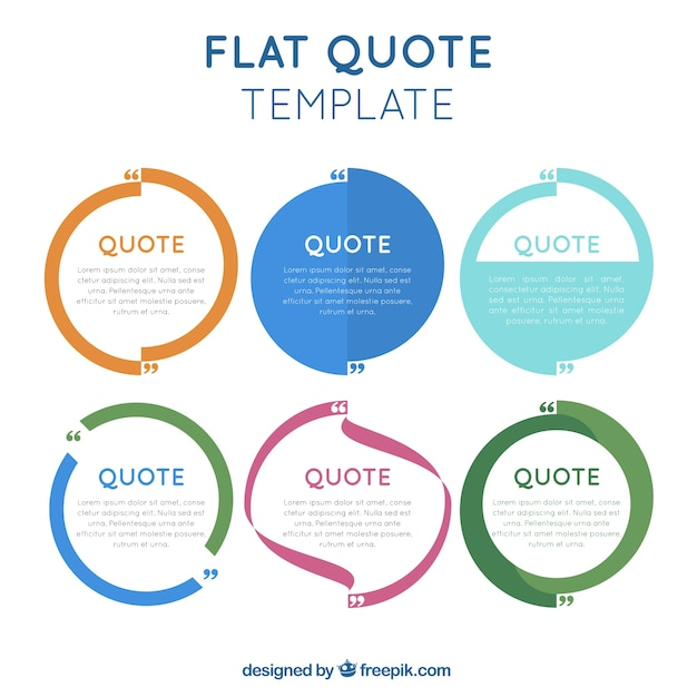 Flat quotes template in modern style Vector Free Download - quote template