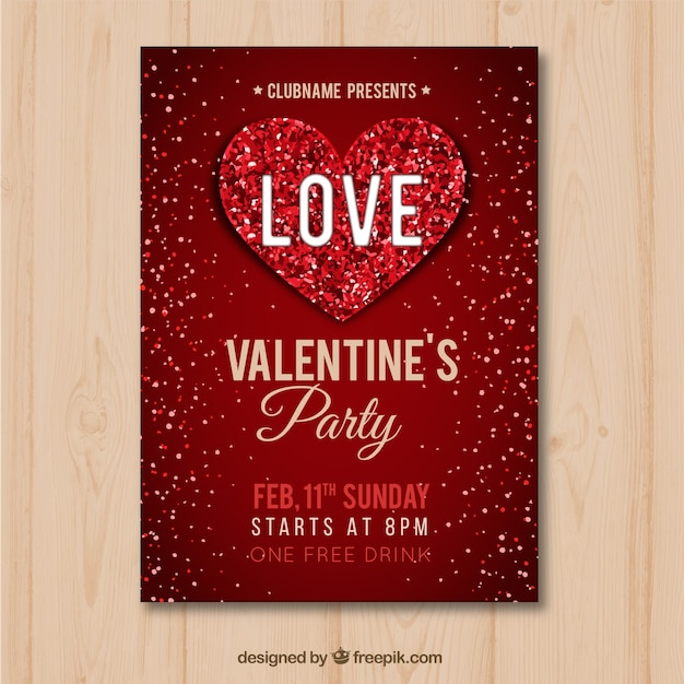 Flat valentine\u0027s day flyer/poster Vector Free Download