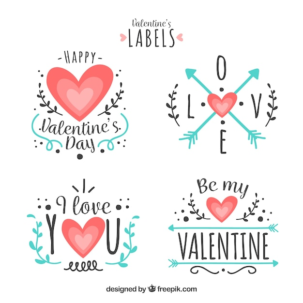 Flat valentine\u0027s day label/badge collection Vector Free Download