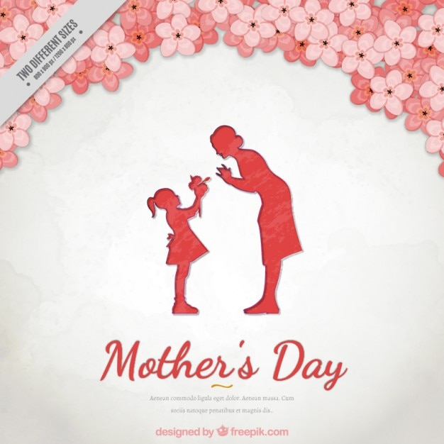 Floral background of mother\u0027s day with a lovely scene between mother - mother's day