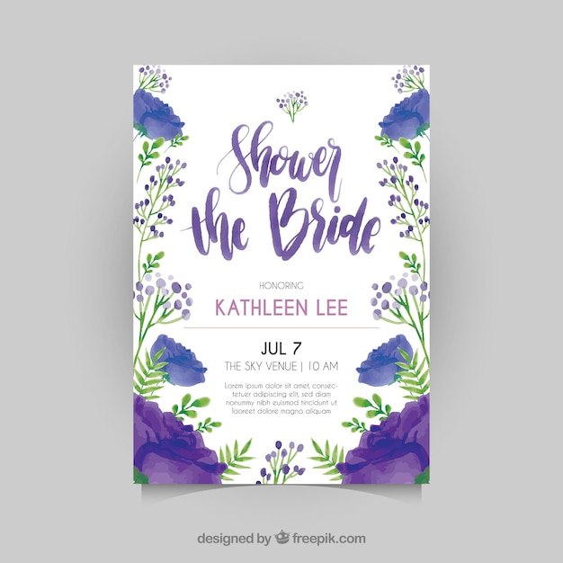Floral bridal shower invitation template in watercolor style Vector - bridal shower invitation templates download