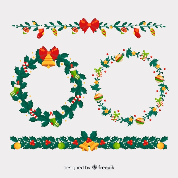 Floral christmas frames and borders collection Vector Free Download