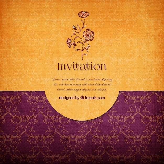 Floral elegant invitation Vector Free Download