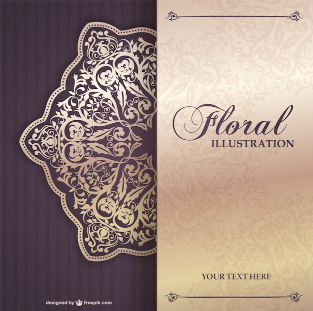 Floral invitation template Vector Free Download