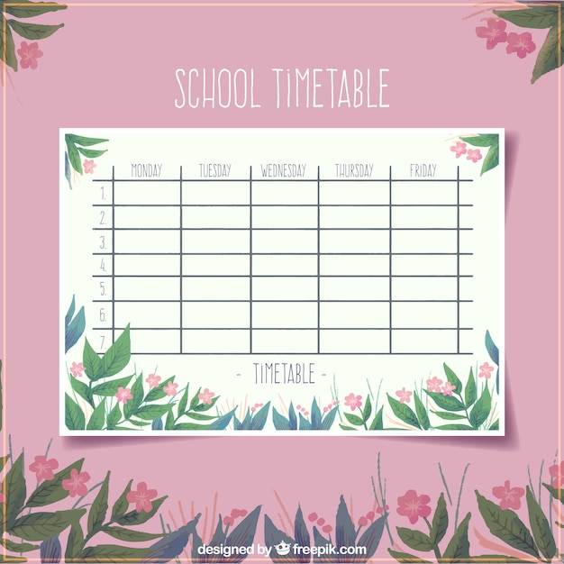 Floral pink school timetable template Vector Free Download