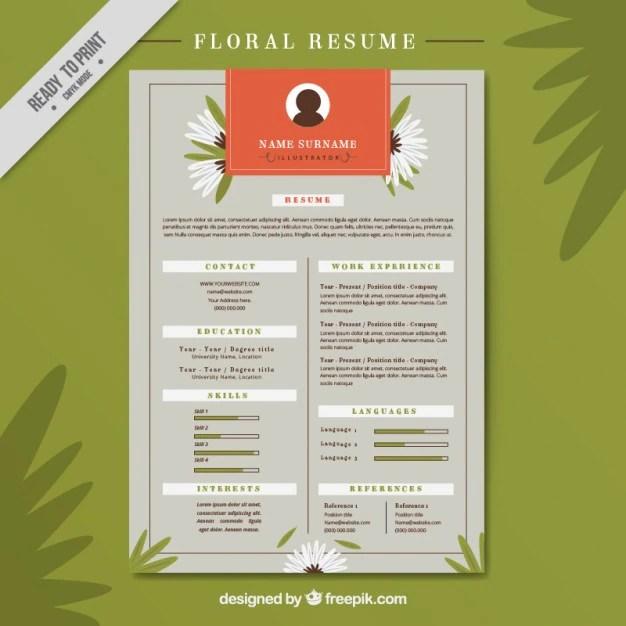 Floral resume Vector Free Download