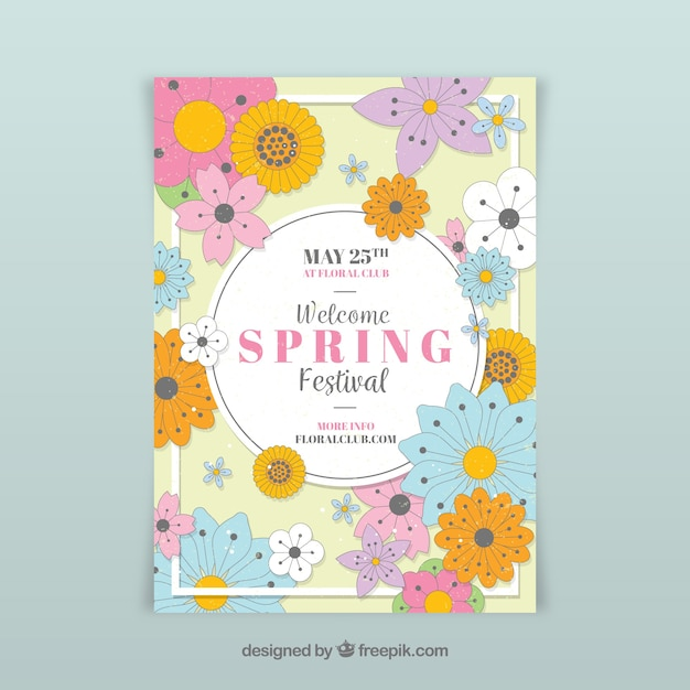 Floral spring party flyer template Vector Free Download - spring flyer template