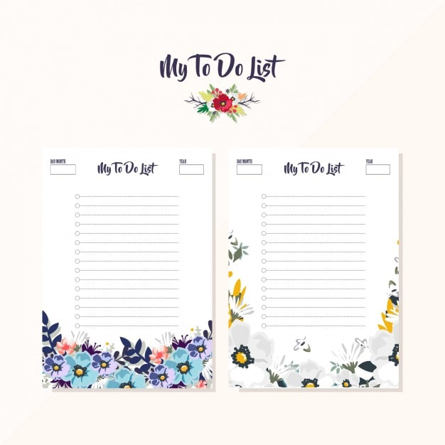Floral to do list designs Vector Free Download