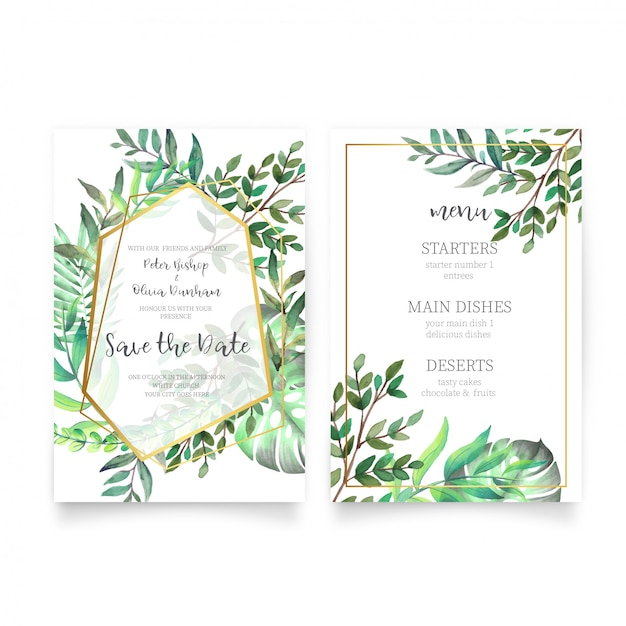 Floral wedding invitation with watercolor leaves Vector Free Download