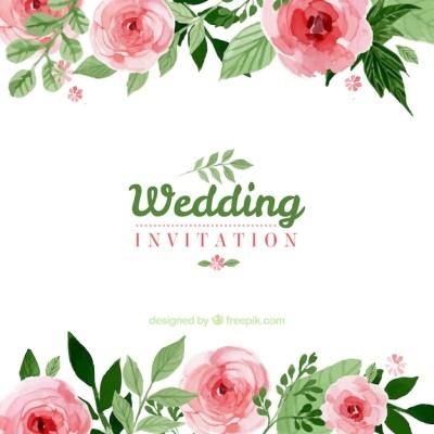 Floral wedding invitation Vector | Free Download