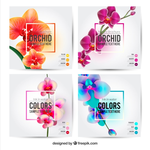 Flower brochures template Vector Free Download - free pamphlet design
