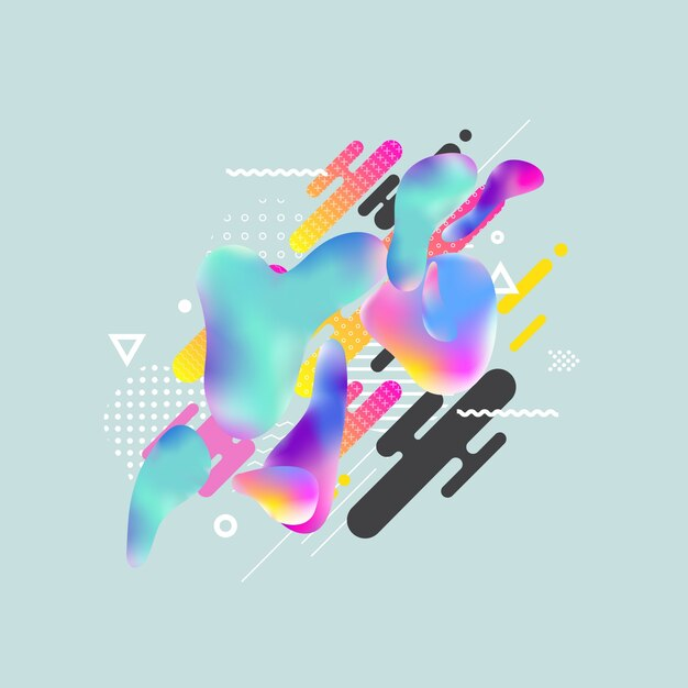 Fluid color cover design with gradient vector illustration Vector