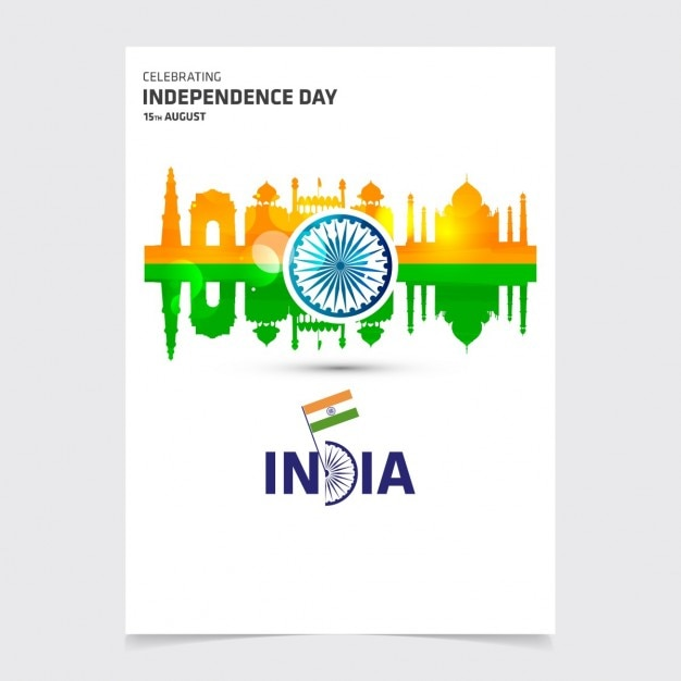 Flyer of india independence day with monuments Vector Free Download