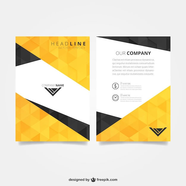 Flyer template with polygonal pattern Vector Free Download - flyer layout templates