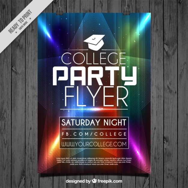 Flyer with colored lights for college party Vector Free Download