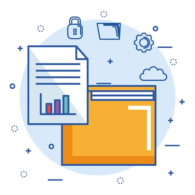 Folder file archive security cloud digital internet Vector Premium