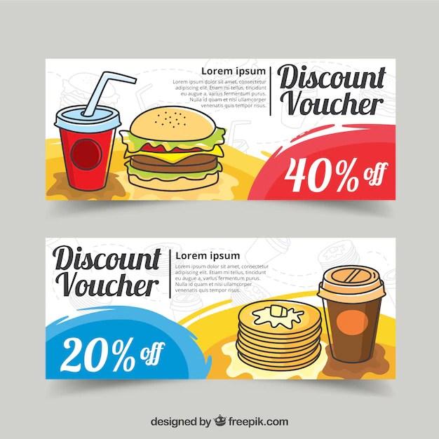 Food discount vouchers design Vector Free Download
