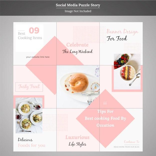 Food social media puzzle story template Vector Premium Download