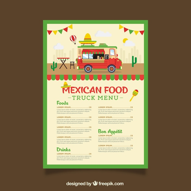 Food truck menu template wit mexican food Vector Free Download - food truck menu template