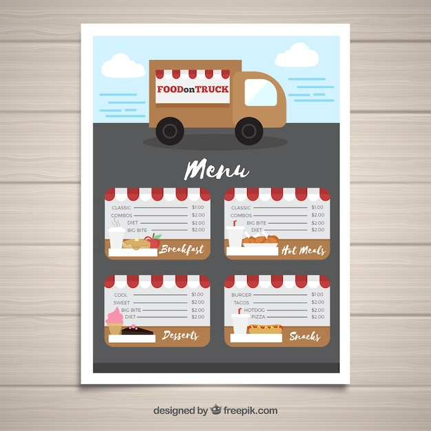 Food truck menu template with cute style Vector Free Download - food truck menu template