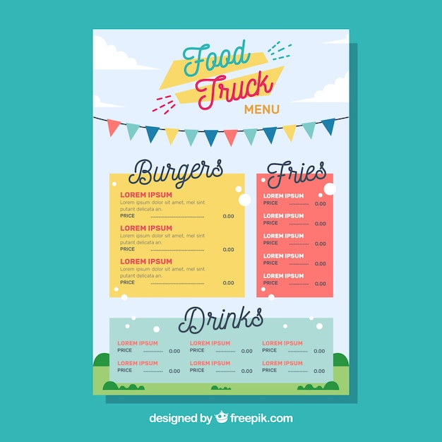 Food truck menu template with happy style Vector Free Download - food truck menu template