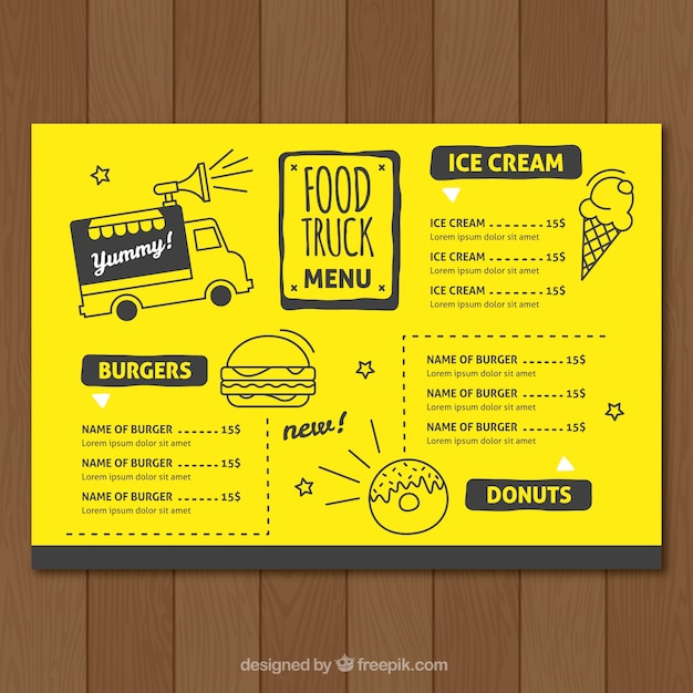 Food truck menu template Vector Free Download - food truck menu template
