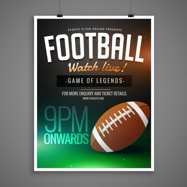 Football event card template Vector Free Download