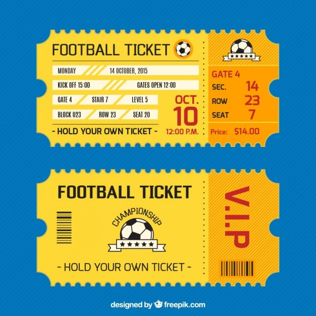 Football Ticket Card Vector Free Download - how to make tickets on word