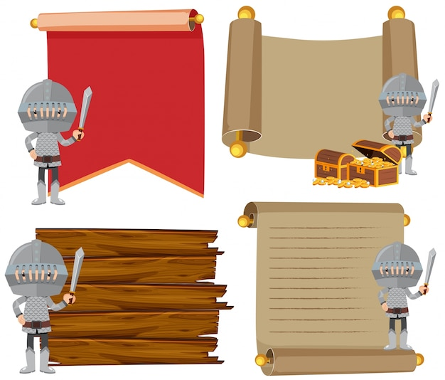 Four banner template with medieval knights Vector Premium Download