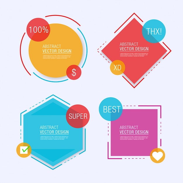 Four geometrical label templates Vector Free Download - label