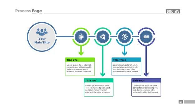 Four steps process chart slide template Business data Flowchart